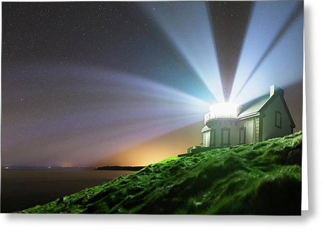 Lighthouse Beams At Night Greeting Card