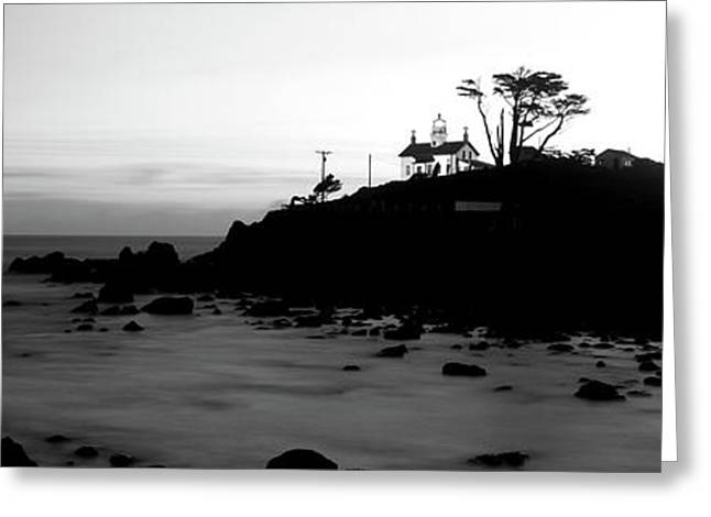 Lighthouse On A Hill, Battery Point Greeting Card by Panoramic Images