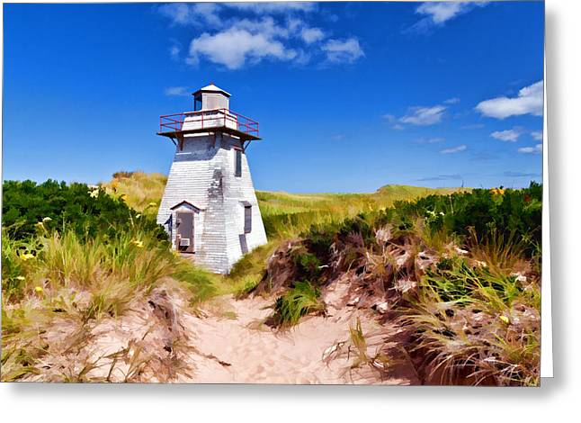 Lighthouse On The Dunes Greeting Card by Dan Dooley