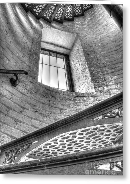 Lighthouse Stairs In Black And White Greeting Card