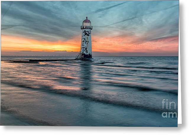 Lighthouse Sunset Greeting Card by Adrian Evans