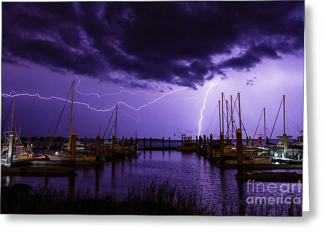 Lightning Over Fernandina Beach Marina Amelia Island Florida Greeting Card