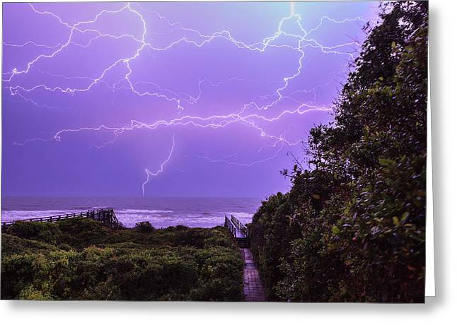 Lightning Over The Beach Greeting Card