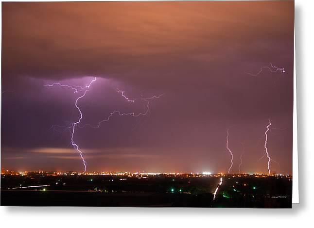 Lightning Storm Greeting Card by Leland D Howard