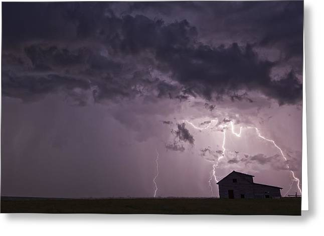Lightning Strikes Over The Prairies Greeting Card by Robert Postma