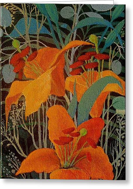 Greeting Card featuring the painting Lilies by Marina Gnetetsky