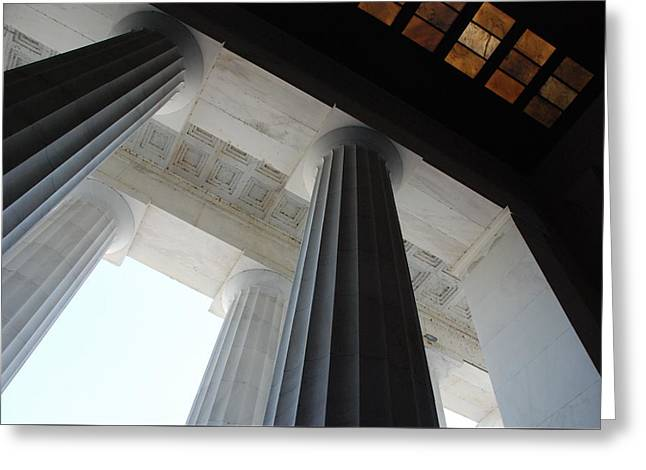 Lincoln Stained Glass And Columns Greeting Card