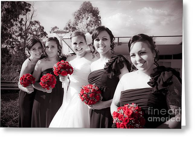 Lineup Of Bride And Bridesmaides Greeting Card by Jorgo Photography - Wall Art Gallery