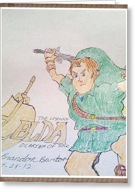 Link From Zelda Greeting Card by Michael Barton