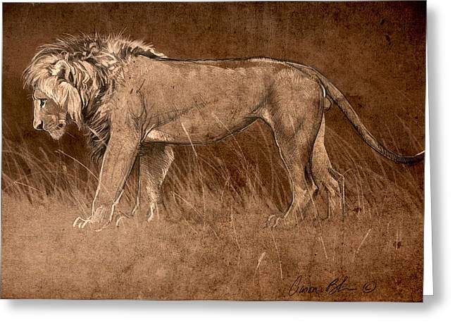 Greeting Card featuring the digital art Lion Sketch by Aaron Blaise