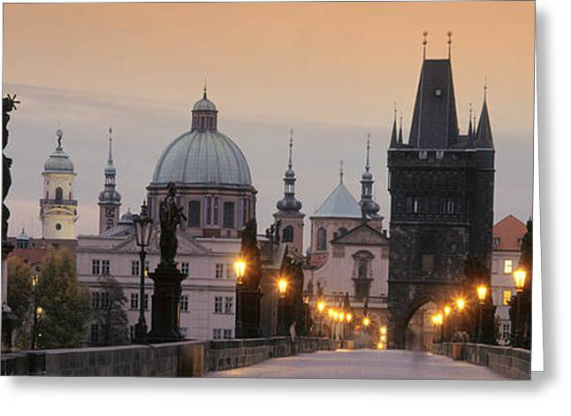 Lit Up Bridge At Dusk, Charles Bridge Greeting Card