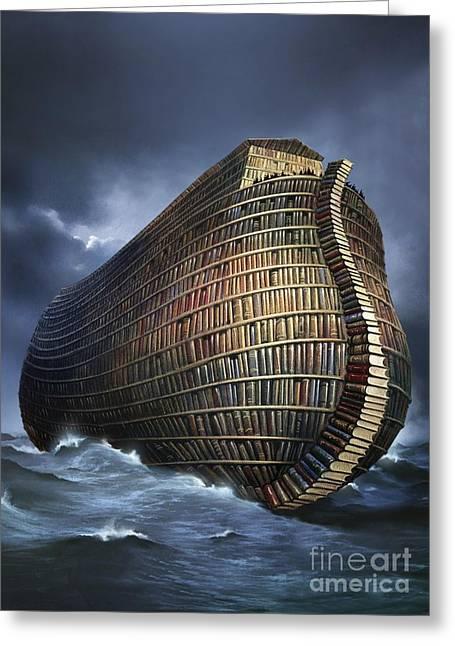 Literary Ark, Conceptual Artwork Greeting Card by Smetek