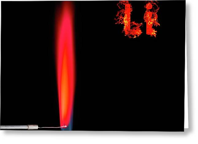 Lithium Flame Test Greeting Card by Science Photo Library