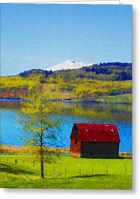 Little Barn By The Lake Greeting Card by Lenore Senior and Constance Widen