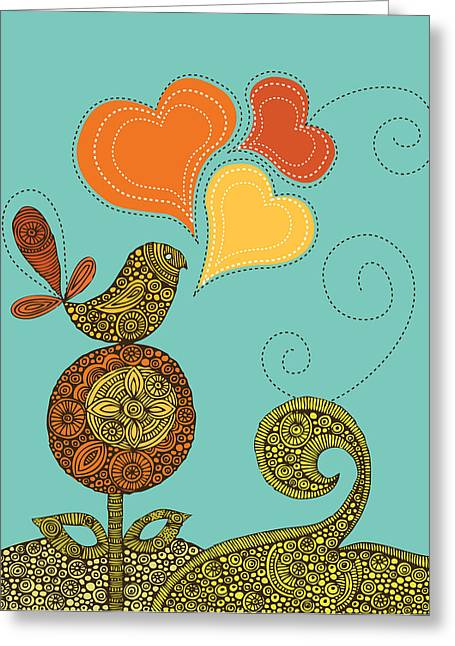 Little Bird In The Flower Greeting Card by Valentina Ramos