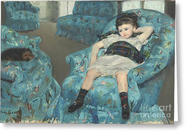 Little Girl In A Blue Armchair Greeting Card by Celestial Images
