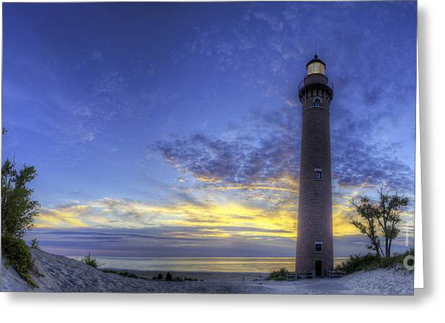 Little Sable Lighthouse In Evening Greeting Card by Twenty Two North Photography