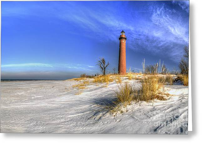 Little Sable Lighthouse In Winter Greeting Card