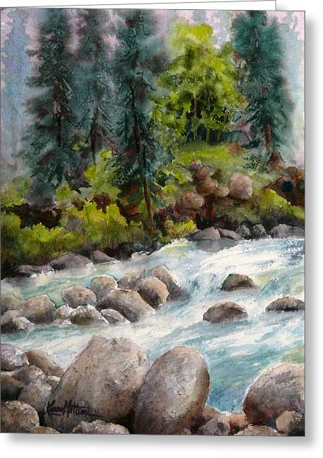 Greeting Card featuring the painting Little Susitna River Rocks by Karen Mattson