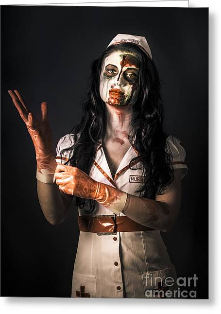 Living Dead Health Professional Putting On Gloves Greeting Card by Jorgo Photography - Wall Art Gallery