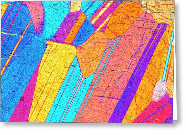 Lm Of A Thin Section Of Gabbro Rock Greeting Card by Alfred Pasieka/science Photo Library