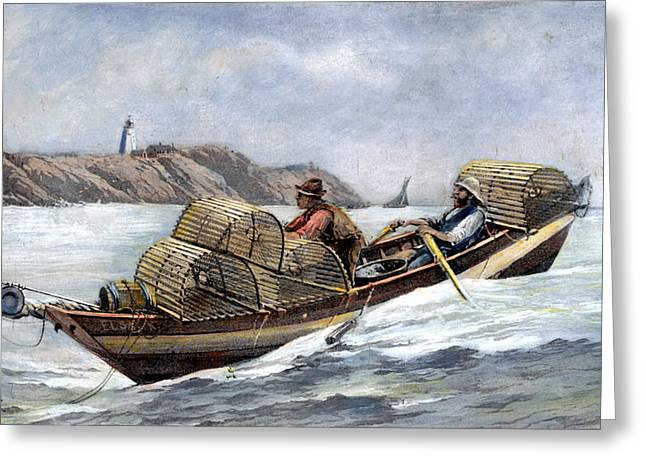 Lobster Fishing, 1894 Greeting Card by Granger