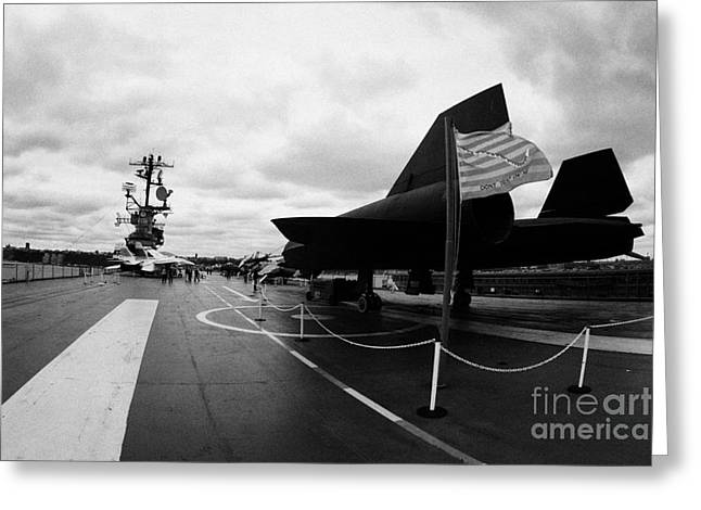 Lockheed A12 Blackbird On The Flight Deck Of The Uss Intrepid At The Intrepid Sea Air Space Museum Greeting Card