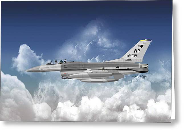 Lockheed Martin F-16c Fighting Falcon Greeting Card by Arthur Eggers