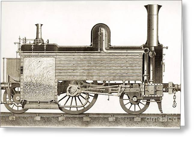 Locomotive, Sectional View, 19th Century Greeting Card