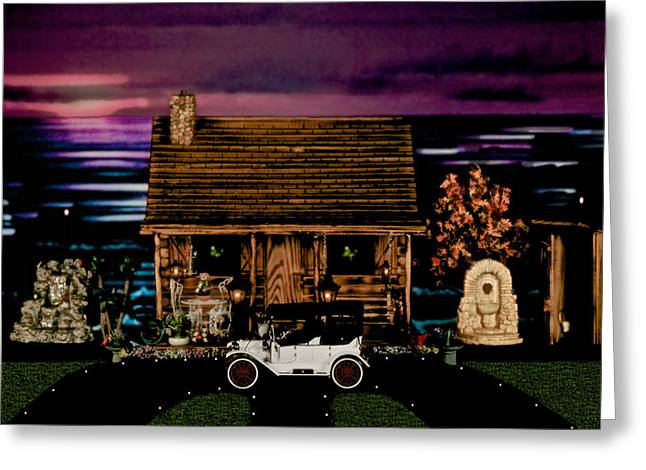 Log Cabin Scene At Sunset With The Old Vintage Classic 1913 Buick Model 25 Greeting Card by Leslie Crotty