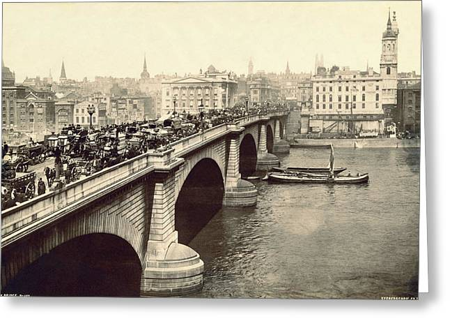 London Bridge Traffic Greeting Card by Underwood Archives