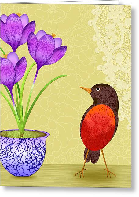 Spring's Surprise Greeting Card by Valerie Drake Lesiak