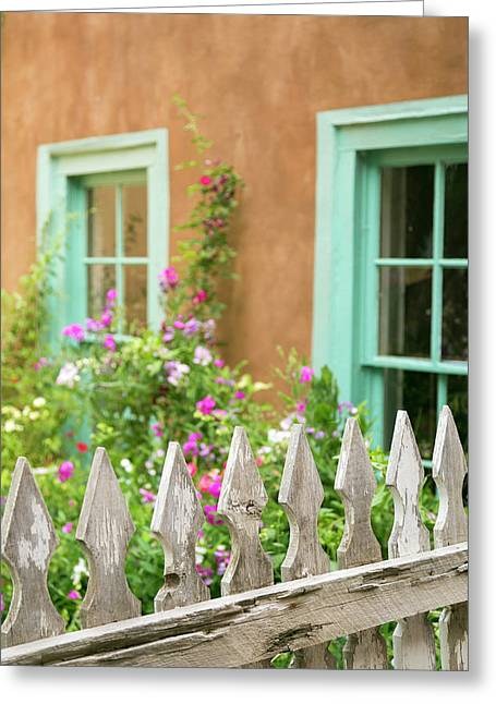 Looking Into A Garden Of A House, Taos Greeting Card by Julien Mcroberts