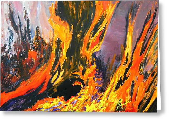 Greeting Card featuring the painting Looks Like Hell by AnnE Dentler