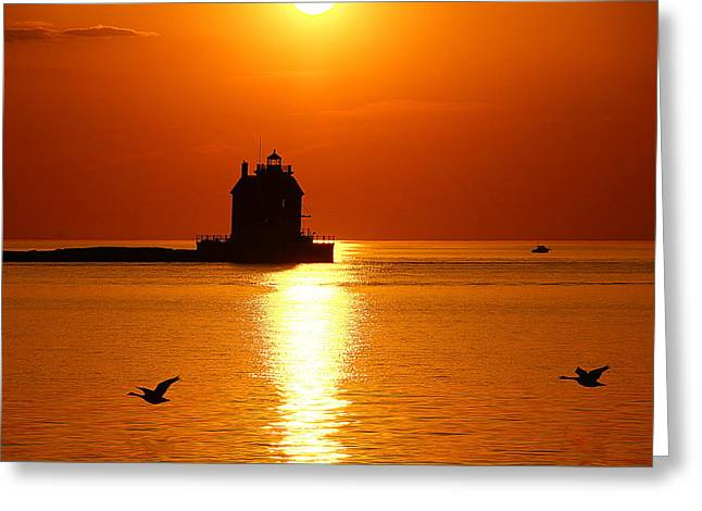 Lorain Harbor Greeting Card by Robert Bodnar