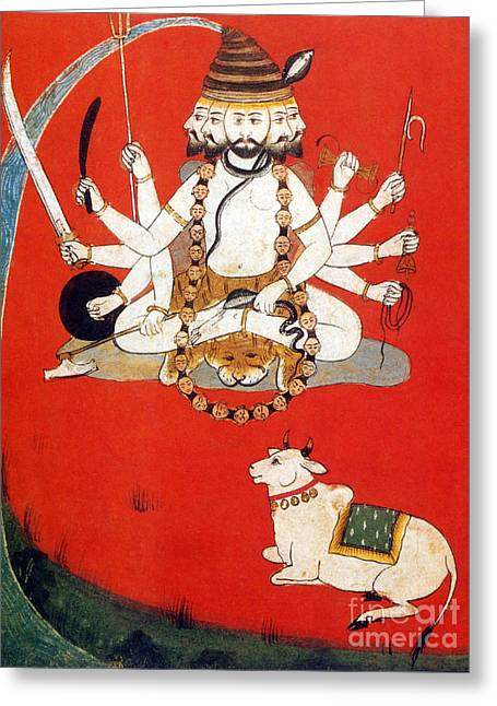 Lord Shiva With Sacred Bull Nandi Greeting Card by Photo Researchers