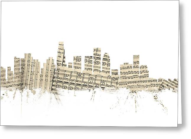 Los Angeles California Skyline Sheet Music Cityscape Greeting Card by Michael Tompsett