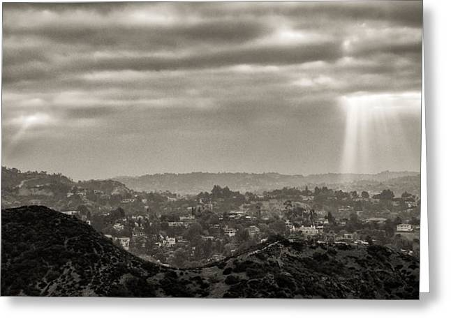 Los Angeles From The Hollywood Bowl Overlook Greeting Card