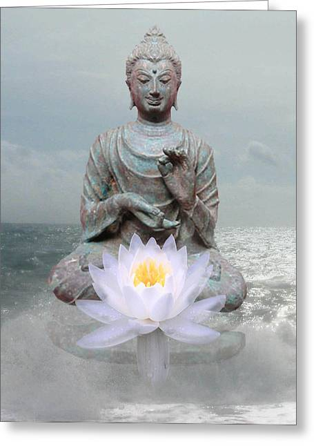 Lotus Turquoise Buddha Greeting Card by Gill Piper