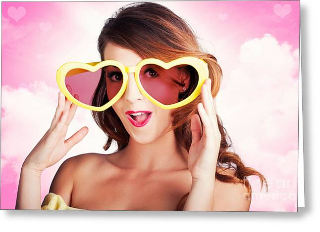 Love Is Blind. Woman Wearing Heart Shape Glasses Greeting Card by Jorgo Photography - Wall Art Gallery