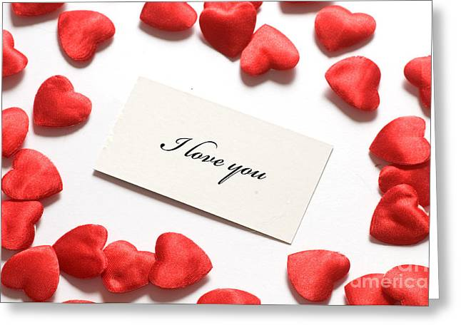 Love Message And Little Hearts Around Greeting Card by Michal Bednarek
