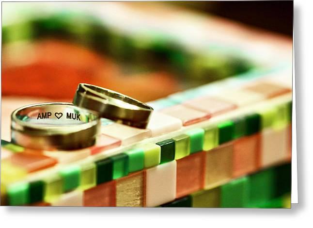 Love On Mosaic Greeting Card by Suradej Chuephanich