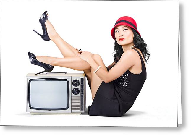 Lovely Asian Pinup Girl Posing On Vintage Tv Set Greeting Card by Jorgo Photography - Wall Art Gallery