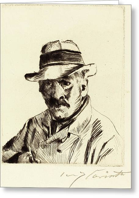 Lovis Corinth, Self-portrait In A Straw Hat Selbstbildnis Greeting Card
