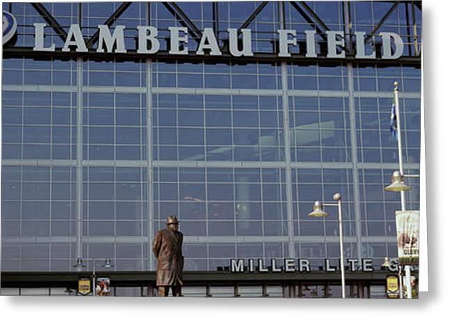 Low Angle View Of A Stadium, Lambeau Greeting Card by Panoramic Images