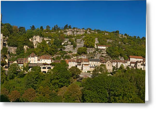 Low Angle View Of A Town On A Hill Greeting Card