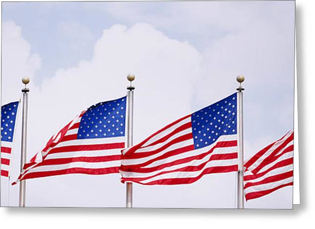 Low Angle View Of American Flags Greeting Card