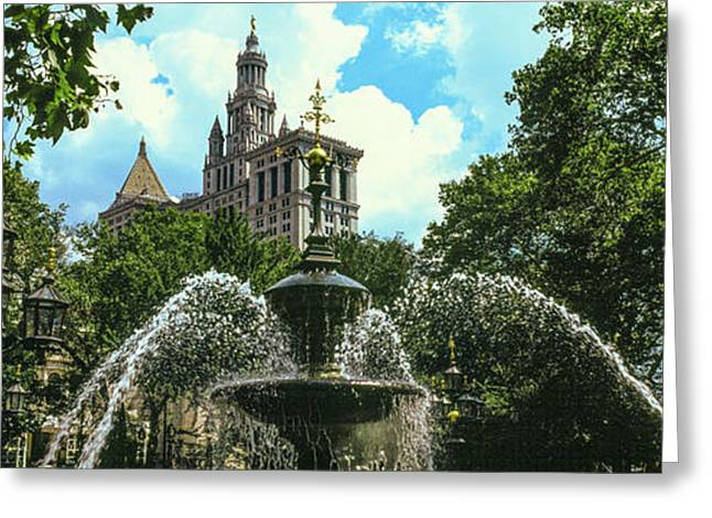 Low Angle View Of Fountain, City Hall Greeting Card