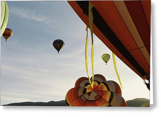 Low Angle View Of Hot Air Balloons Greeting Card
