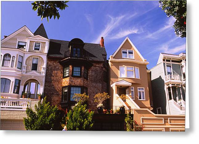 Low Angle View Of Houses In A Row Greeting Card